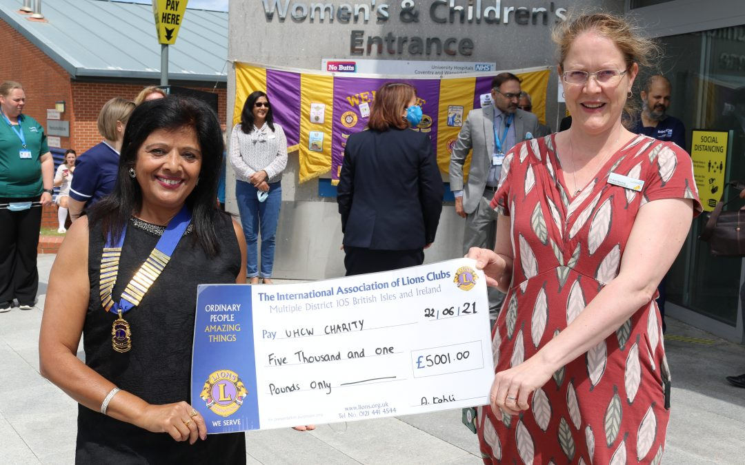 Lion's Club of Coventry Godiva Gives Donation for Accuvein Device, Helping Children to Feel More Comfortable During Treatment